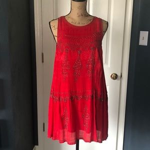 Red Beaded Free People spaghetti strap swing dress